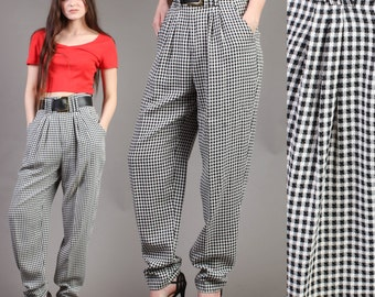 vintage BLACK + WHITE plaid GINGHAM houndstooth high waist slacks pants matching belt 80s 90s 1980s 1990s extra small small xs S