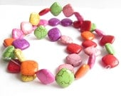 "Multicolour rhombic beads with rounded corners dyed howlite 20"" inch strand 41 beds + bulk sale"