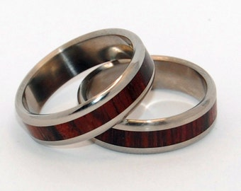 titanium wedding ring, cocobolo wood ring, matching wedding rings, unique wedding rings, custom made rings, wooden wedding ring, WARMTH
