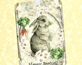 Tags, Rabbit Tags, Happy Spring, Party Favors, Daisy, Vegetable Garden