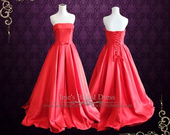 Strapless Red Wedding Dress with Bow | Ruby