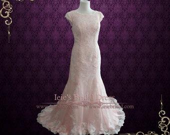 Blush Pink Modest Lace Chiffon Wedding Dress with Cap Sleeves | Blush Wedding Dress | Lace Wedding Dress | Modest Wedding Dress | Tilly