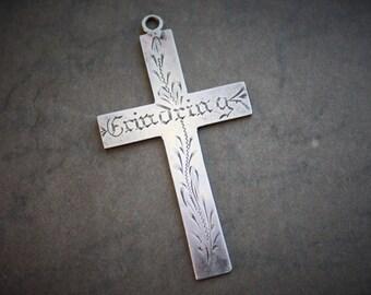 Memory / Large Antique Scandinavian Silver Cross Pendant / 1800s Danish Silver Pilgrimage Cross