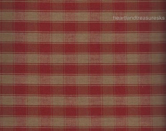 Dunroven House H-34 Homespun Red & Wheat Large Plaid Fabric    3 Sizes Available