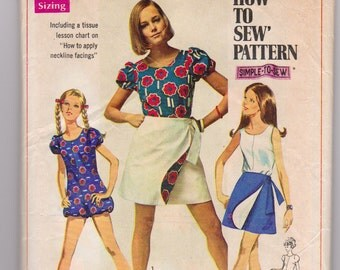 Vintage 1968 Simplicity 8063 Misses jumper and wrap skirt pattern Size 8
