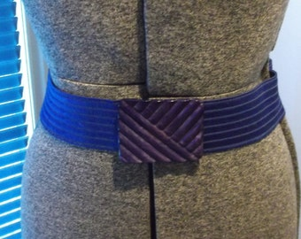 Ed Barry Cobalt Blue Ribbed Elastic Stretch Belt with Ribbed Buckle