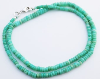 Chrysoprase Gemstone Smooth Heishe Rondelle necklace 3-5mm Full Strand Necklace