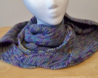 Shawl - Hand Knitted Triangle Shawl in Self-Striping Colors Purple, Green and Grey