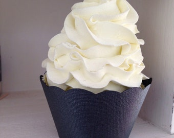 Black Pearl Cupcake Wrappers Textured Paper