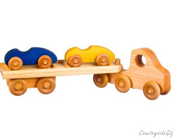 Wooden Toy Car Carrier with 2 Cars - Wooden Toy truck and car carrier with 2 wooden Sports cars