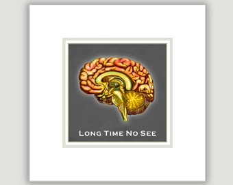 Humor Art, Long Time No See, brain illustration, dorm wall art, funny wall art, funny office art, college student, crazy, stress, bipolar