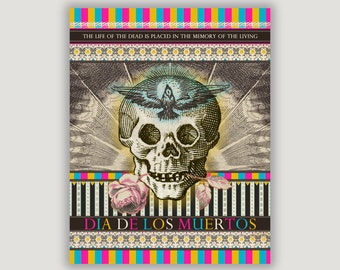 Day of the Dead Art, Dia De Los Muertos, macabre art, pastel goth, macabre decor, goth decor, Halloween art, dorm poster, Mexican holiday