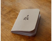 Pocket Size Notebook -  Mini leather Journal - Beige Leather - Plant - Field Note Notebook