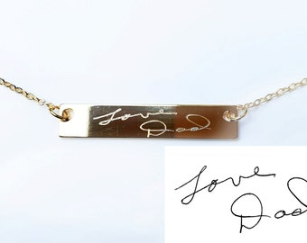 Handwritten Signature Necklace, Engraved Bar Necklace with Signature or Handwriting, Memorial Jewelry, Loss Grief