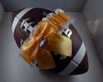 Football Toss Garter Buttercup Yellow Bow White Satin Football Charm Wedding Accessories Football Band ( Football not included)