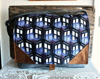 Doctor Who Tardis messenger shoulder bag crossbody totebag  5 Pockets-- Ready to Ship--