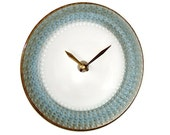 Silvery Blue and Bronze Wall Clock Kitchen Clock Ceramic Plate Wall Clock Unique Wall Clock Wall Decor, Home Decor - 1956