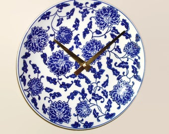 Navy Blue Floral Wall Clock 8-1/4 inches SILENT - Porcelain Plate Wall Clock - Kitchen Clock - Unique Wall Clock - 2337