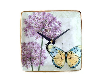 Small Wall Clock, 6 Inch Butterfly Clock, Allium Clock, Ceramic Plate Wall Clock, Unique Wall Clock, Gift for Mom, SILENT Floral Clock  2072