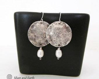 Sterling Silver Earrings Handmade, White Pearl Earrings Dangle, Earthy Organic Everyday Silver Earrings, Contemporary Modern Silver Jewelry