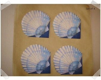 Paper Napkins for Decoupage/Single OR Set of 4  /Shell Print #2/ Craft Supplies**