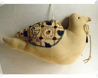 Dove Ornament/Tan Muslin Fabric/Handmade*