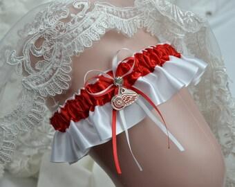 Red Wing Theme Wedding Keepsake Garter-Bridal Garter- Sport Garter