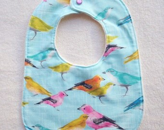 Baby Bib with Organic Cotton. Flutter Birds. Free Shipping.