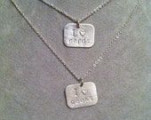 """I heart nerds, I love geeks --or """"my nerd"""",""""my geek""""stamped sterling silver necklace -- geek girl collection"""