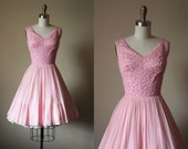 50s Dress - Vintage 1950s Dress - Pink Silver Lurex Chiffon Ballet Cocktail Party Dress XS - Pixie Stix Dress
