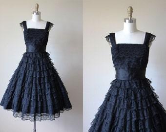 50s Party Dress - Vintage 1950s Dress - Black Chantilly Lace Designer Full Skirt Prom Cocktail Dress XS - Sydney North Dress