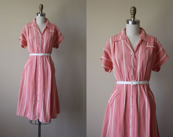 1940s Dress - Vintage 40s Dress - Rayon Pink Cabana Stripe Swing Skirt Day Dress M L - Coral Gables Dress
