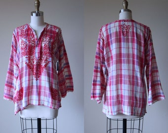 Vintage Indian Cotton Top - Rustic Pink Lavender Embroidered Hearts Madras Plaid India Tunic Gauze Blouse - Deadstock Shirt