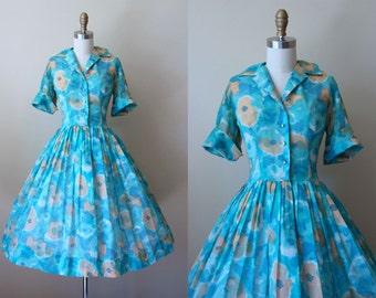 50s Dress - Vintage 1950s Dress - Aqua Muted Pumpkin Floral Cotton Voile Shirtwaister w Rhinestones XL - Sa'bett Dress