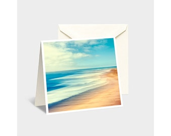 Seascape Note Card, Vintage Seascape, Seascape Greeting Card, Ocean Note Card, California Note Card, Retro Note Card, Abstract Note Card