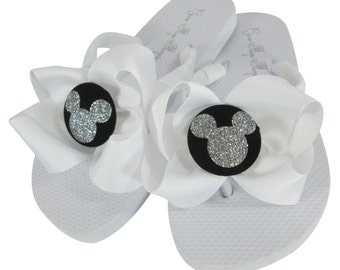 Disney Flip Flops with White and Black Glitter Mickey Mouse Bows. Girls & Ladies. All sizes