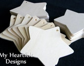 Wooden STAR Ornaments, Gift Tags, Tag Shape (Lot of 5) Party & Wedding Name Tags, DIY Unfinished Wood [Blank labels]