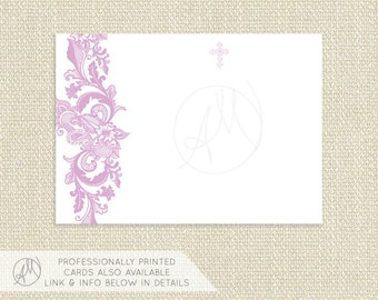 Printable THANK YOU CARD, Instant Download Blank Note Card with Cross, Lavender Lace Baptism Thank You Note, Christening Stationery  - Avery