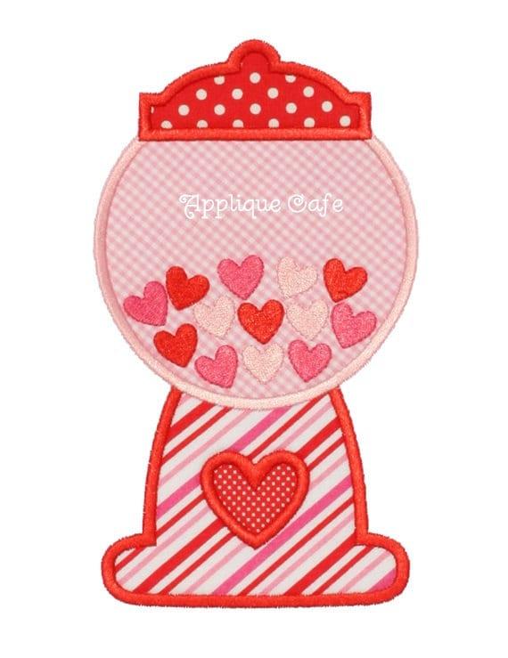 Valentine gumball machine embroidery applique design