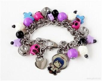 Ao no Exorcist Mephisto Pheles Charm Bracelet, Pink, Purple, Blue, Stainless Steel, Pastel Goth, Anime Jewelry