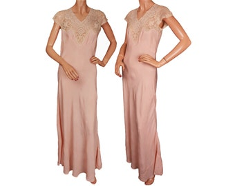 1930s Pink Silk Nightgown with Lace Bodice - M