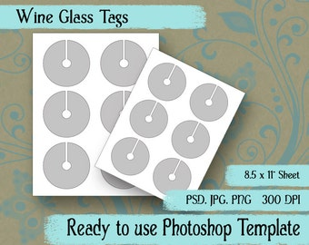 Wine Glass Tags - Digital Layered Collage Sheet Template