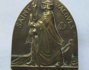 Antique Saint James Santiago Compostela Pilgrimage French Art Medal Art Deco Signed E. Blin