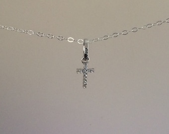 Simulated White Sapphire Cross Necklace on a Fine Sterling silver chain, everyday necklace, layering necklace, christian, faith, child neckl