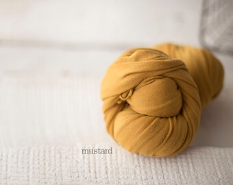 Stretch Knit Wrap - Newborn Knit Wrap - SNUG Wrap - Newborn Prop - MUSTARD baby wrap - Knit wrappers