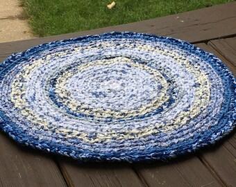 "Porcelain Blue ""Braided"" Cotton Round Rug"