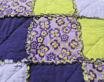 Flannel Rag Quilt Throw yellow & purple with butterflies couch blanket