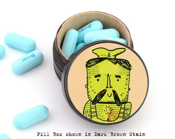 Rugged Tattooed Sailor Pill Box - Sailor Wedding Rings Box - Tooth-fairy Box - Cufflinks Storage Box - Father's Day Gift