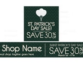 Etsy Banners - Etsy Shop Banners - St Patricks Day Etsy Banners - Saint Patrick's Day Etsy Sale 3 - 2 Piece Set