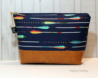 Metallic Arrows In Navy with Vegan Leather - Large Make Up Bag / Diaper Clutch / Bridesmaid Gift